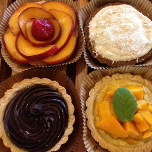 """Photo of Breads on Oak Cafe & Bakery  by <a href=""""/members/profile/comahony"""">comahony</a> <br/>vegan tarts: organic fruit with vanilla cream, banana cream pie with coconut whip, chocolate ganache <br/> September 22, 2014  - <a href='/contact/abuse/image/33055/80741'>Report</a>"""