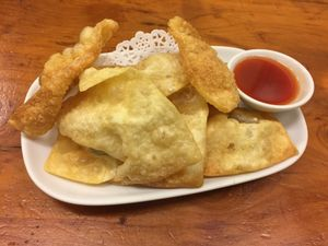 "Photo of Aunty Mena's  by <a href=""/members/profile/Tiggy"">Tiggy</a> <br/>Deep-fried wontons $7 - Crunchy with a little filling <br/> January 10, 2018  - <a href='/contact/abuse/image/3540/345150'>Report</a>"