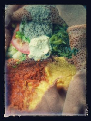 """Photo of Cafe Dareye  by <a href=""""/members/profile/MizzB"""">MizzB</a> <br/>Veggie combo platter: red lentils, split peas, collard greens, salad, stuffed jalapeño on gluten free injera. Deliciously authentic Ethiopian <br/> August 19, 2016  - <a href='/contact/abuse/image/58032/169908'>Report</a>"""