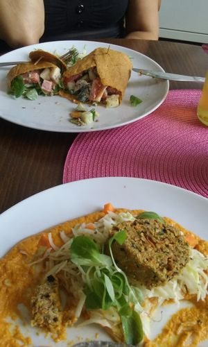 """Photo of Ziva Zahrada  by <a href=""""/members/profile/laty"""">laty</a> <br/>Raw wrap (dried skin) with vegetables and champions,. Czech raw sauce with seed dumplings <br/> December 1, 2017  - <a href='/contact/abuse/image/72421/331144'>Report</a>"""
