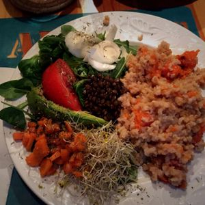 """Photo of CLOSED: Le Speakeasy  by <a href=""""/members/profile/VeganStewardess"""">VeganStewardess</a> <br/>Main Course with fresh salad  <br/> January 14, 2016  - <a href='/contact/abuse/image/7291/132324'>Report</a>"""